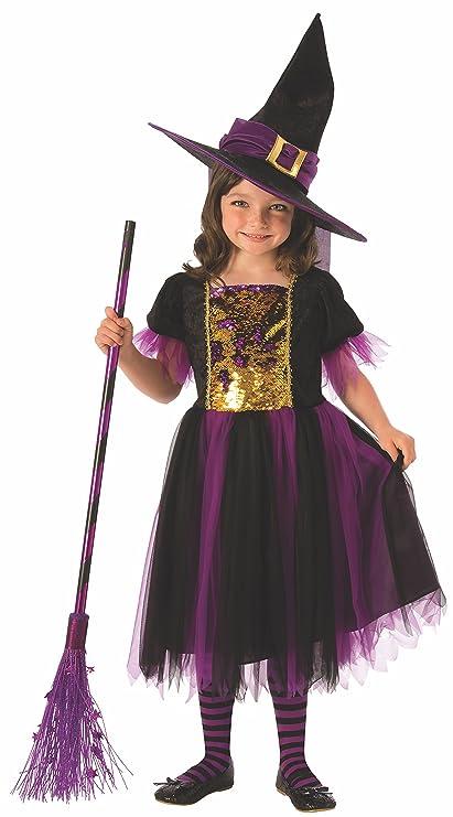 Halloween - Disfraz de Bruja para niña, dorado y morado - 3-4 años (Rubies 641101-S)
