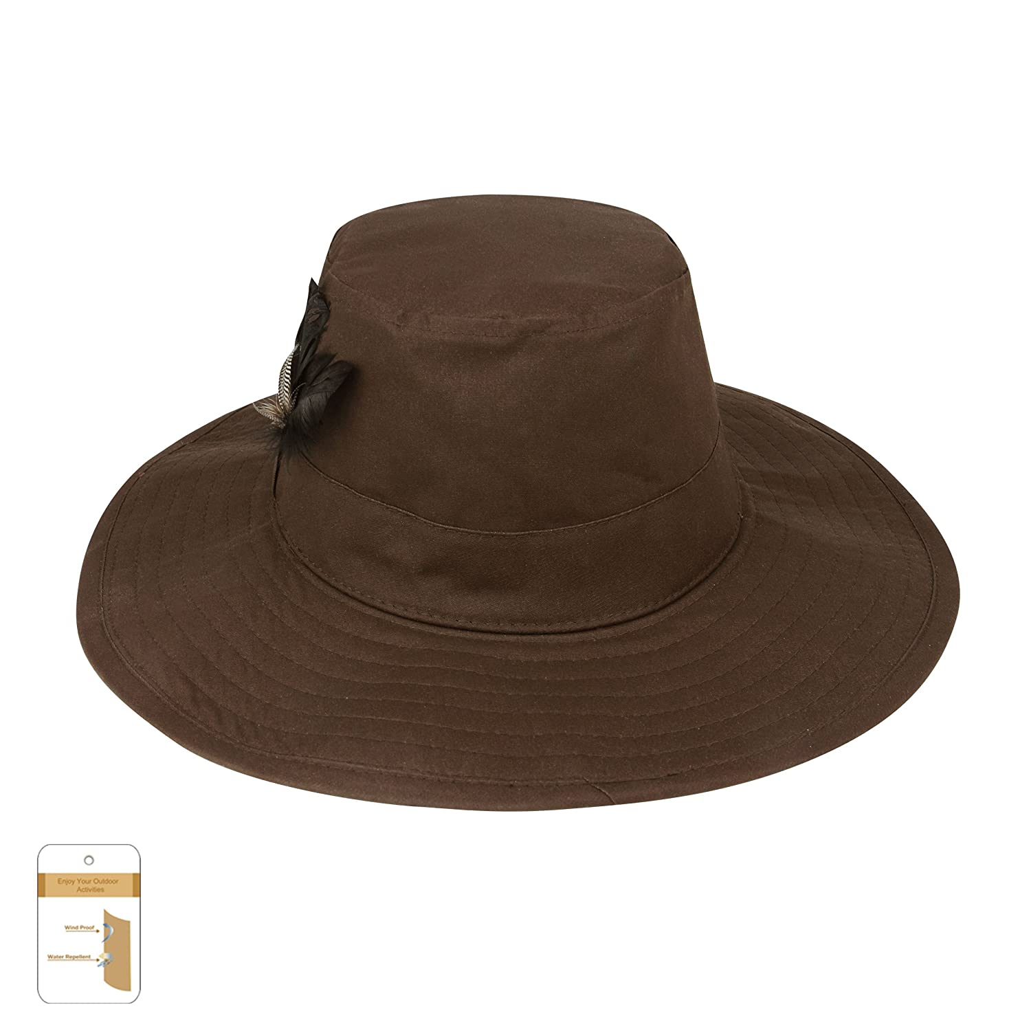 05b977be6b91ba Amazon.com: Juniper Men's Waxed Cotton Canvas Western Hat-J9705-Brown-L:  Clothing