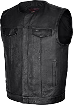 High Mileage Mens Zipper and Snap Closure Leather Club Vest with Red Top Sitching and Lining