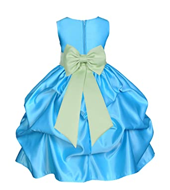 f7511914bc9 ekidsbridal Turquoise Satin Bubble Pick-up Junior Flower Girl Dress  Princess Dresses 208T 2