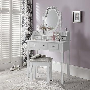 Capri Agtc0010 Chaise Pour Coiffeuse Blanc Meuble Miroir De Chambre