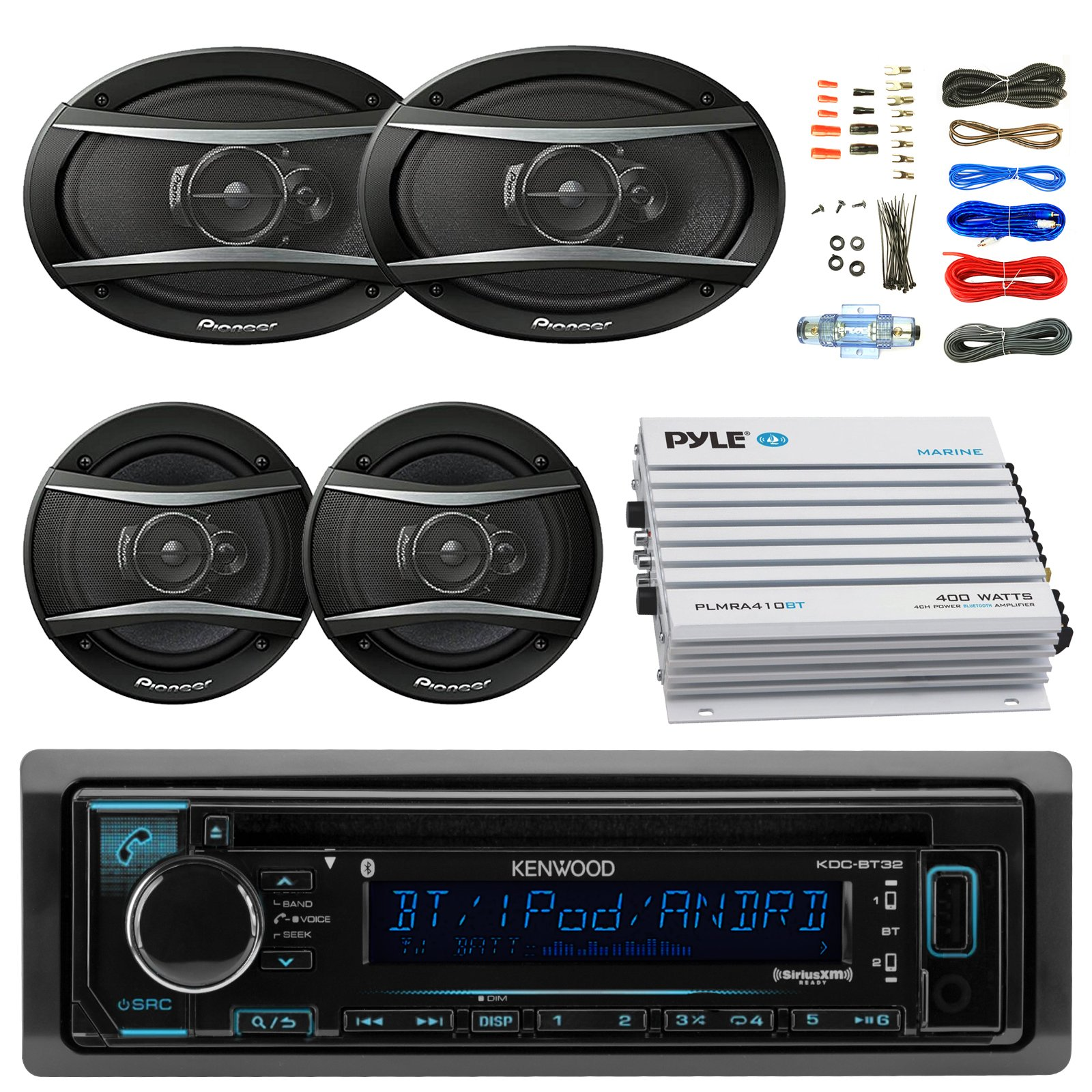 Kenwood KDCBT32 Car Bluetooth Radio USB AUX CD Player Receiver - Bundle With 2x TSA1676R 6.5'' 3-Way Car Audio Speakers - 2x 6.5''-6.75'' 4-Way Stereo Speaker + 4-Channel Amplifier + Amp Kit