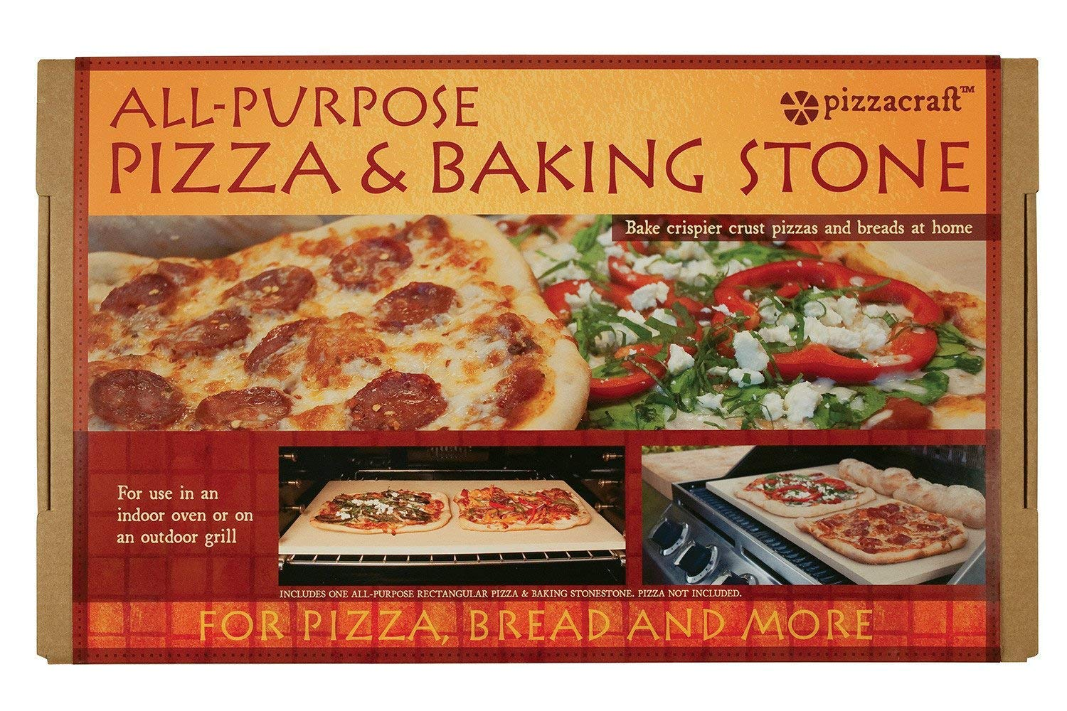 Pizzacraft PC9899 20 x 13.5 Rectangular ThermaBond Baking/Pizza Stone for Oven or Grill (Pack of 2) by Pizzacraft