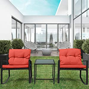 Pyramid Home Decor 3-Piece Rocking Bistro Set - Durable & Stylish Synthetic Wicker Outdoor Furniture - Glass Coffee Table with 2 Chairs for Balcony, Patio & Porch - Black Metal, Soft Red Cushions