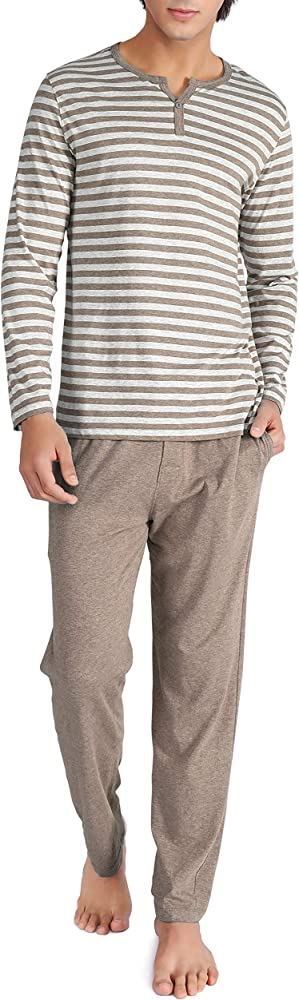 DAVID ARCHY Mens Cotton Heather Striped Sleepwear Long Sleeve Top /& Bottom Pajama Set