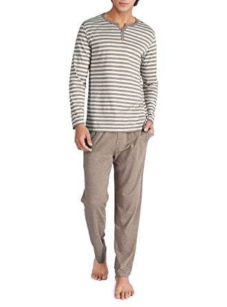 b660338b6c55 David Archy Men s Cotton Heather Striped Sleepwear Long Sleeve Top   Bottom Pajama  Set (Heather