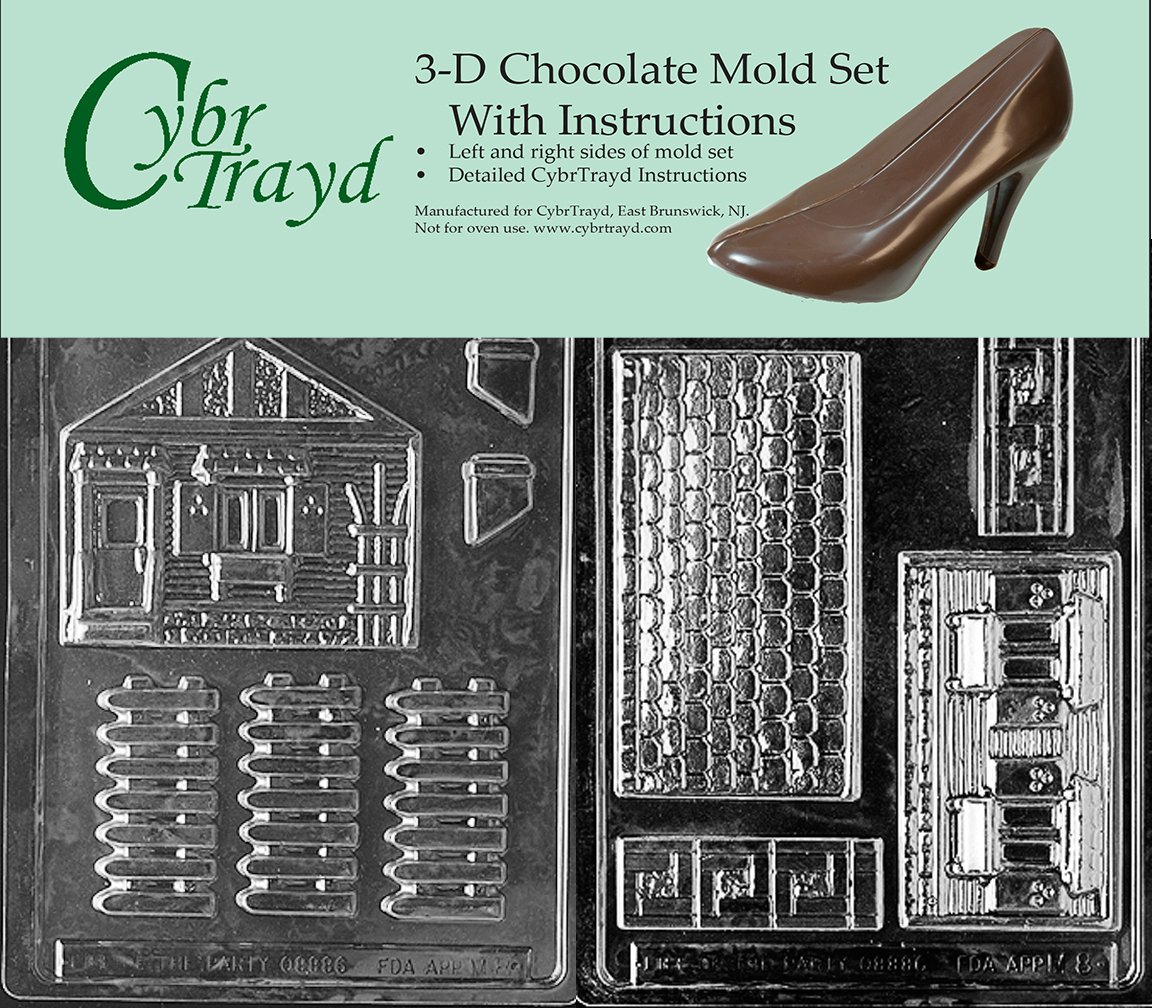 Cybrtrayd M008AB Chocolate Candy Mold Includes 3D Chocolate Molds Instructions and 2-Mold Kit House and Accessories