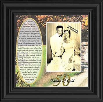 Bands Of Gold Personalized 50th Wedding Anniversary Gift Picture Frame 10x10 6779B