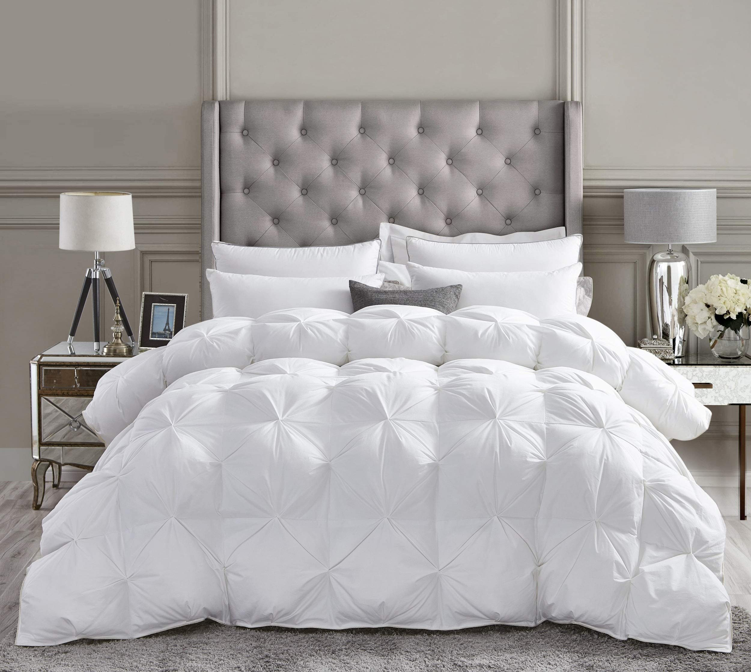 Luxurious All-Season Goose Down Comforter Queen Size Duvet Insert, Exquisite Pinch Pleat Design, Premium Baffle Box, 1200 Thread Count 100% Egyptian Cotton, 750+ Fill Power, 55 oz Fill Weight, White by Egyptian Cotton Factory Outlet Store