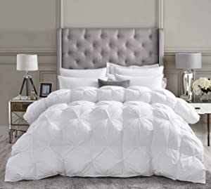Luxurious All-Season Goose Down Comforter Queen Size Duvet Insert, Exquisite Pinch Pleat Design, Premium Baffle Box, 1200 Thread Count 100% Egyptian Cotton, 750+ Fill Power, 55 oz Fill Weight, White