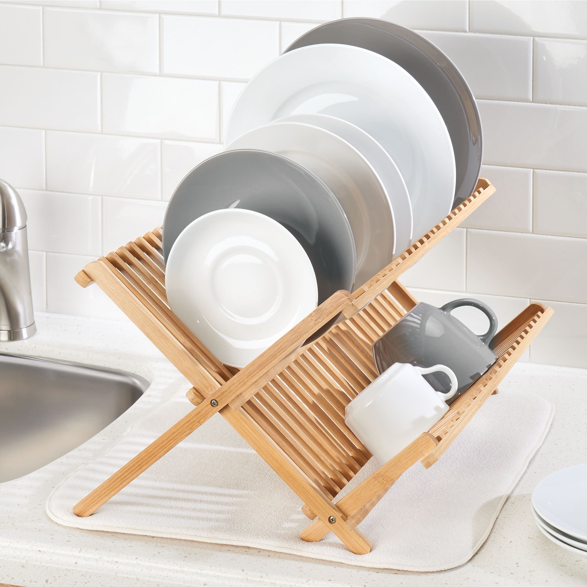 mDesign Bamboo Kitchen Countertop, Sink Dish Drying Rack � Extra Large Capacity, 2 Tiers - Foldable and Collapsible, 100% Bamboo Wood, Natural Light Wood by mDesign (Image #3)