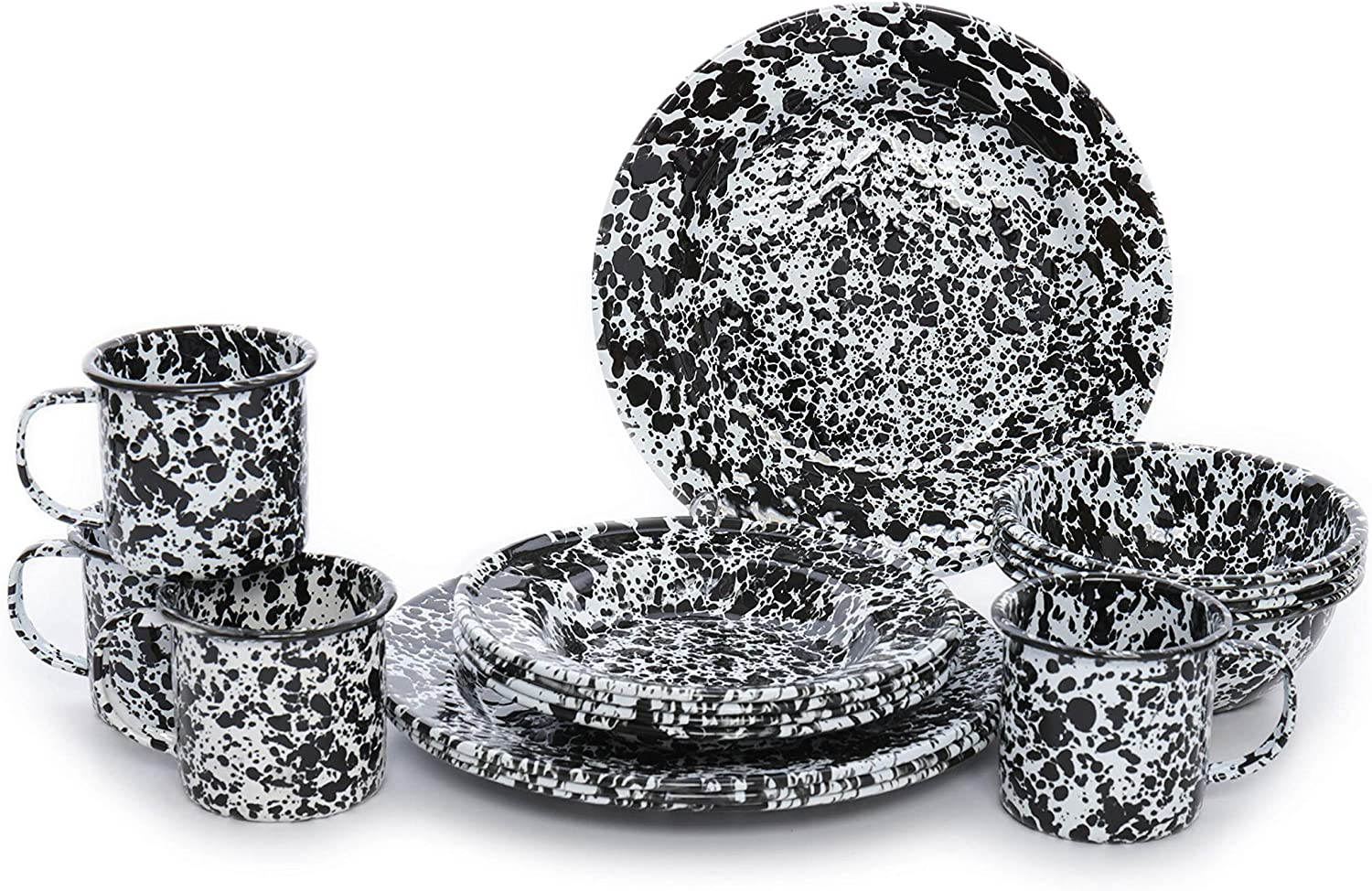 Black /& White Marble 6.25 Crow Canyon Home Enamelware Cereal Bowl Set of 4
