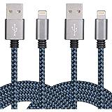 COSKIP[2 Pezzi]Cavo Lightning a USB 2M Nylon Intrecciato Trasmissione Dati Carica per Apple iPhone SE, 6, 6Plus, 6S, 6S plus, 5, 5S, 5C, iPad Air, Mini, Mini 2, iPad 4, iPod 5 e iPod 7 (Nero e Blu)