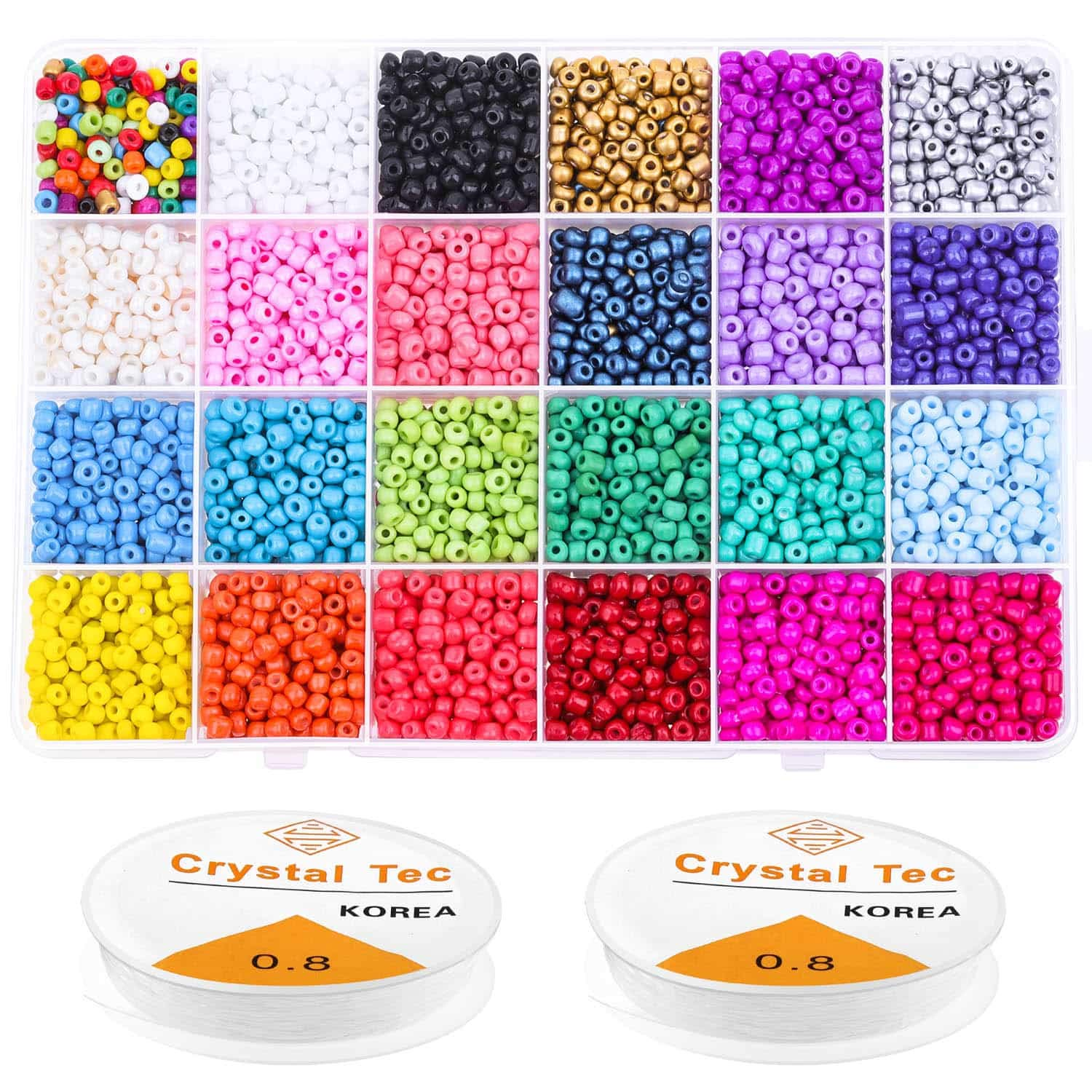 Beads for Bracelets, Anezus 7200 Pcs 4mm Pony Seed Beads Bracelet Beads Small Glass Rainbow Beads for Bracelet Jewelry Making by anezus