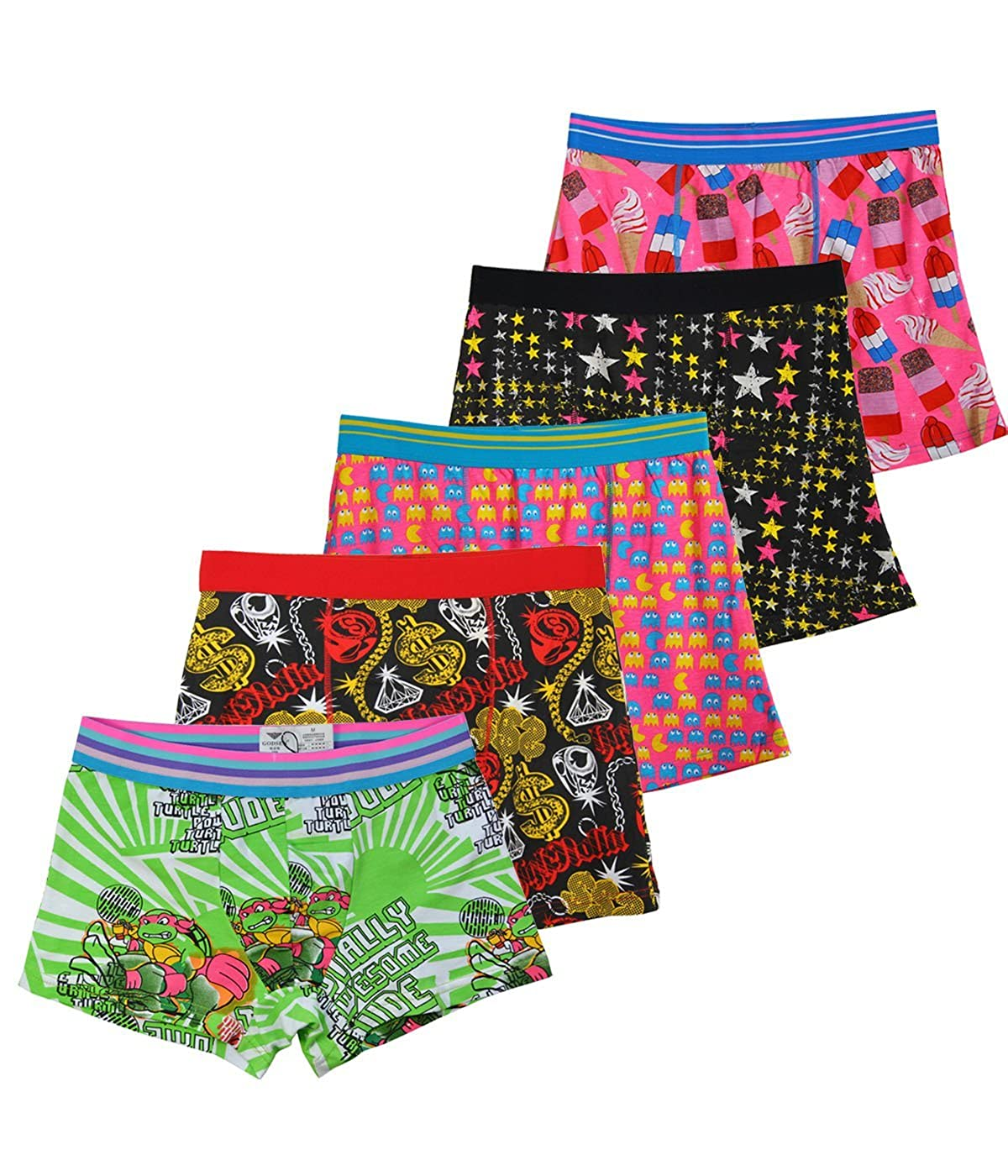 Godsen Mens Classic 5 Pack Boxer Briefs Cartoon Underwear
