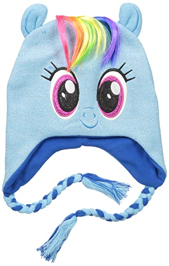 887c06ac6ed Hasbro Women My Little Pony Rainbow Dash Character Acrylic Knit Winter  Laplander Hat with Pollyfilled Stuffed