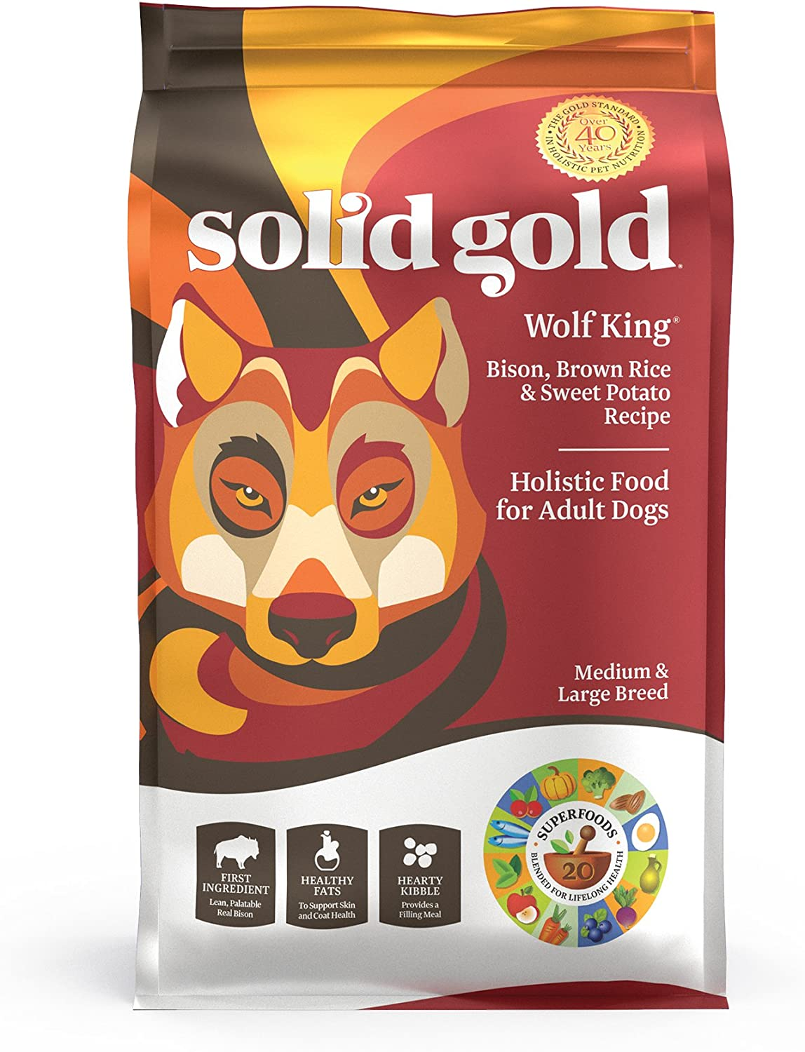 Solid Gold – Wolf King with Real Natural Bison Brown Rice – Whole Grain Rich – Large Breed Holistic Dry Adult Dog Food