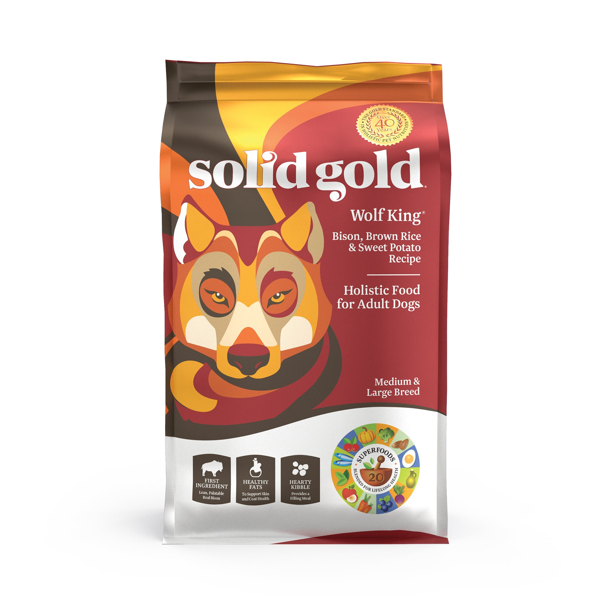 Solid Gold Large Breed Dry Dog Food; Wolf King with Real Bison & Brown Rice; 12lb