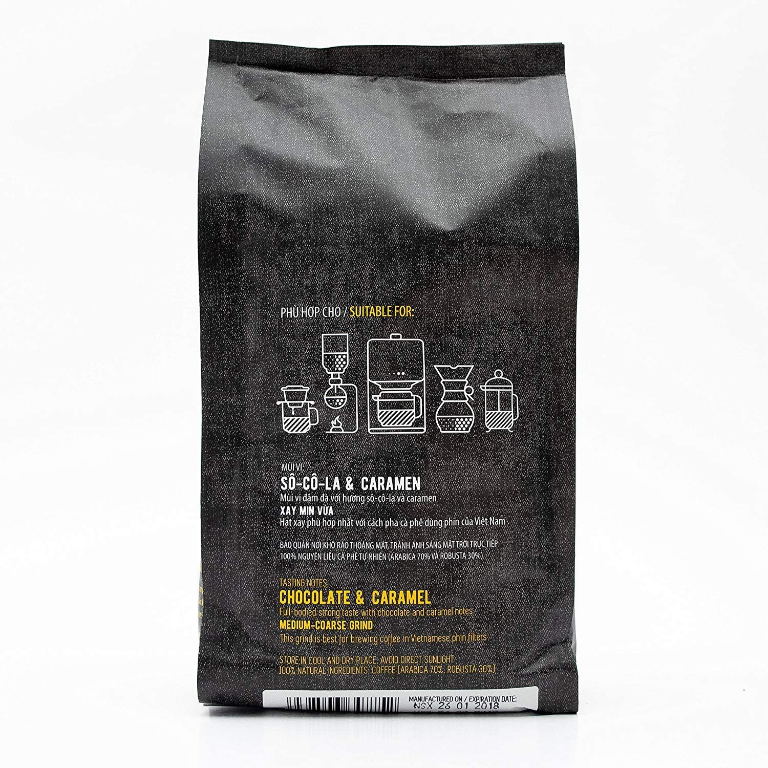 Suitable for All Coffee Machines 500g Mr Viet Ca Phe Dalat Ground Coffee Fresh and Promptly Delivered from Vietnam Ground Coffee Roasted Authentic Vietnamese Blend