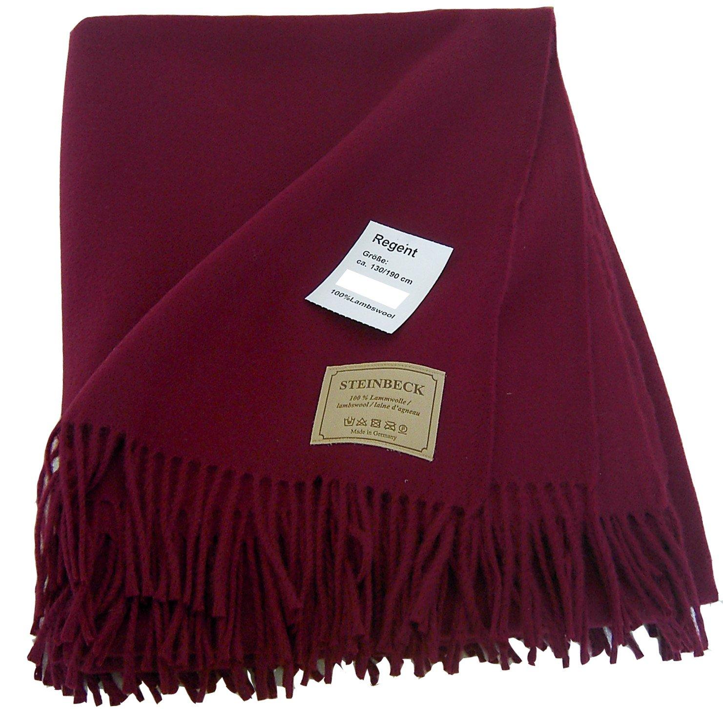 Leichte dunkelrote Wolldecke aus extrafeiner Lambswool, 130x190cm, ca 600g - 1,5-2mm dick, aus Deutschland, Handwäsche