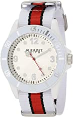 August Steiner Kids 'as8061pk Juniors Reloj con nylon de rayas de banda de plástico blanco