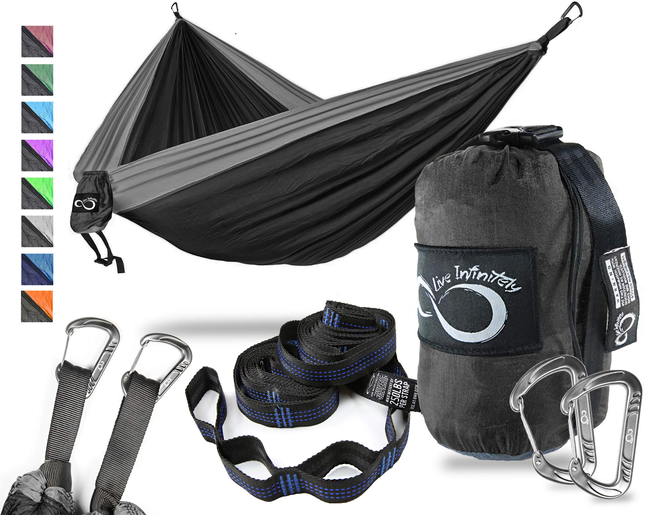 Double Camping Hammock- Best Lightweight & Portable Two Person Hammock Set -Aluminum Wiregate Carabiners, 2- 16 Loop Tree Straps & Compression Strap- Holds 500 LBS -Ideal for Travel Black Middle by Live Infinitely
