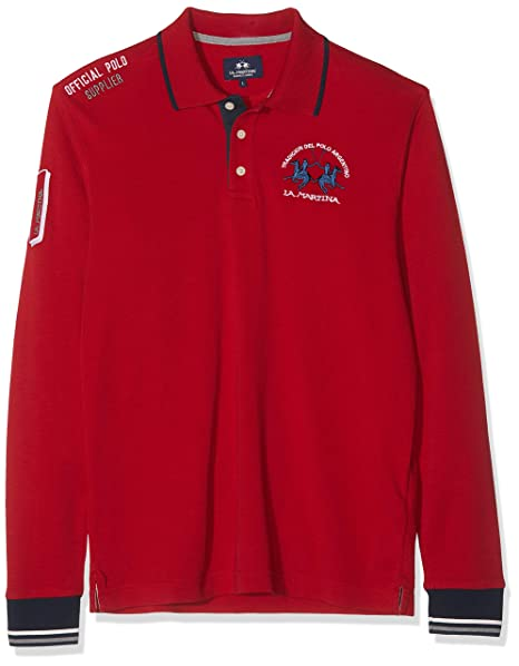 La Martina Man Polo L/s Jersey Interlock, Rojo (Chili Pepper 06007 ...
