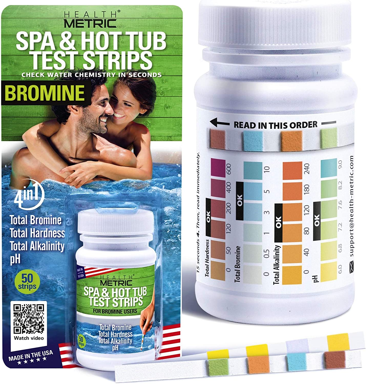 Spa and Hot Tub Test Strips Bromine | Made in The USA | 4 Way Testing Strips for Hot Tubs & Spas | Specially Calibrated for Warm Water to Maximize Accuracy | Test Kit for TB, TA, TH & pH | 50ct