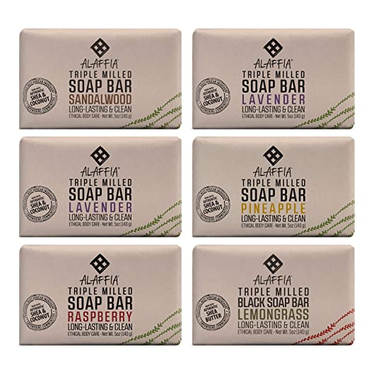 Alaffia - Triple Milled Shea Butter Soap, Gently Cleanses of Grime while Helping Moisturize and Soothe with Shea Butter and Coconut Oil, Fair Trade, Gluten Free, Variety, 5 Ounces (6 Pack)