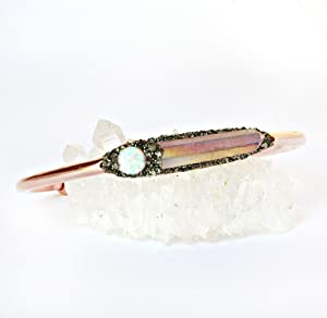 Raw Stone Bracelet with Angel Aura Quartz Crystal and Australian Opal Cabochon