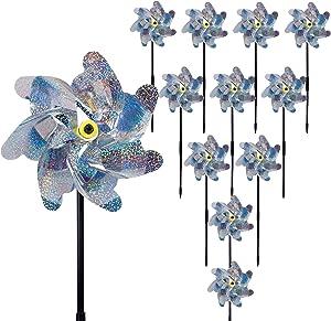 winemana 10 Pack Bird Repellent Reflective Pinwheels,16 Inches Pin Wheel Garden Stakes to Scare Birds in Garden Outdoors, Keep Birds Away Spinners Garden Decor