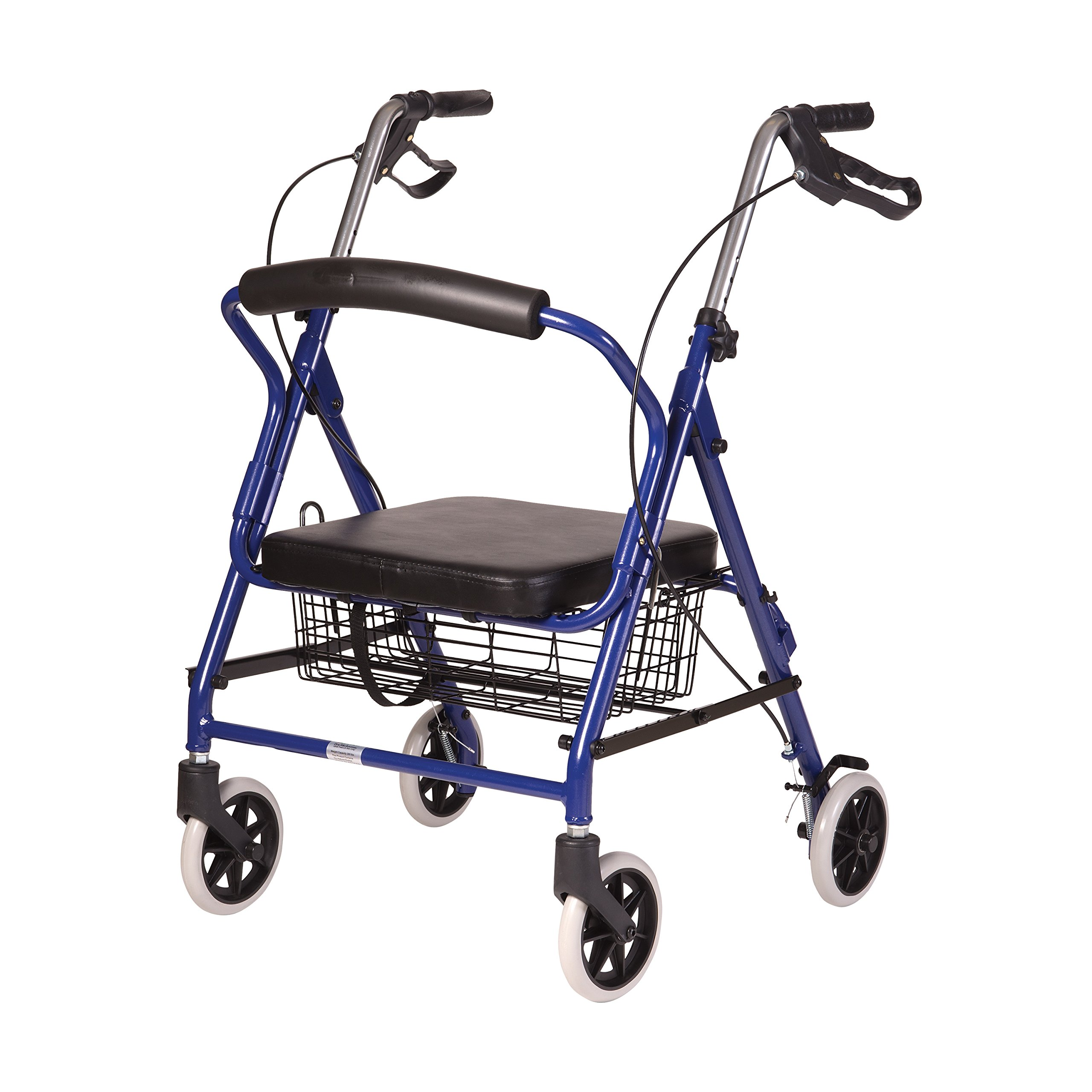 DMI Ultra Lightweight Folding Aluminum Hemi Rollator with Padded Seat, Basket and Adjustable Handle Height, Mobility Walker, Easily Fords, 300 pound Weight Capacity, Royal Blue