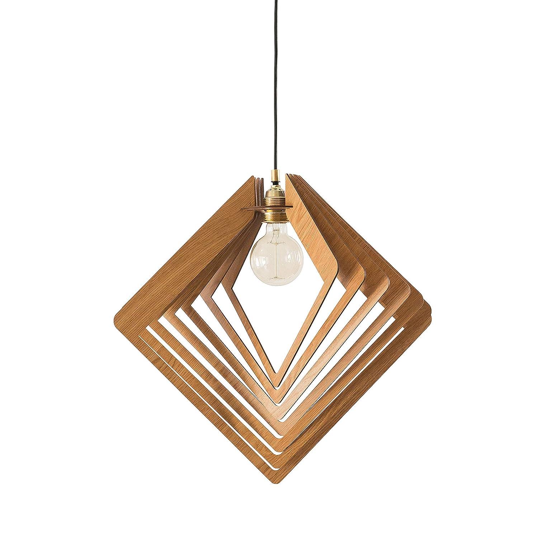 Dezaart Wood Pendant Light, Modern Chandelier Lighting Fixture, 1-Light Mid Century Modern Lamp Shade, Handmade Lighting Product Design for Kitchen, Bathroom, Bedroom, Hallway, Entryway, Foyer