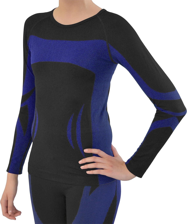 normani Sport Funktionswäsche Damen Langarm Hemd Seamless Ski-, Thermo- & Funktionsshirt ohne störende Nähte mit Elasthan in versch. Farben