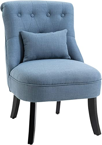 HOMCOM Accent Chair with Upholstered Fabric, Solid Wood Legs and Pillow, Perfect for The Living Room or Bedroom, Blue