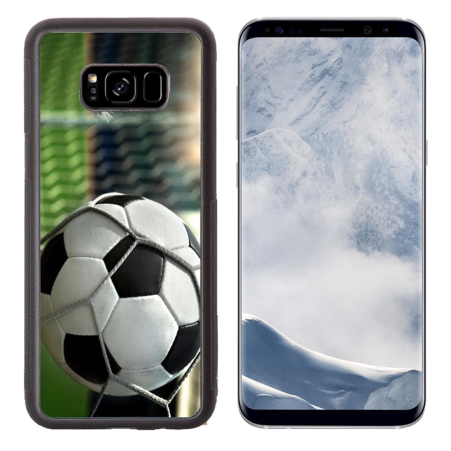 MSD Samsung Galaxy S8 Plus Aluminum Backplate Bumper Snap Case IMAGE of ball soccer sport football play game black leather white leisure equipment net round