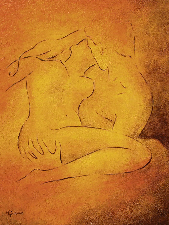 Artland Qualitätsbilder I Bild auf Leinwand Leinwandbilder Wandbilder 60 x 80 cm Liebe Erotik Paar Malerei Orange C0DG Flammende Leidenschaft