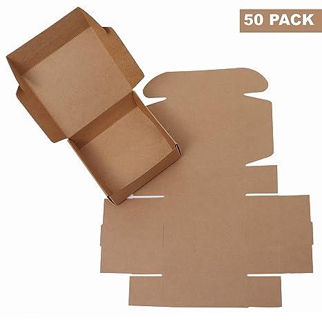 Kraft Papel Cajas de Regalo (Pack de 50) - 13x12x5cm Kraft Marrón Cajas de