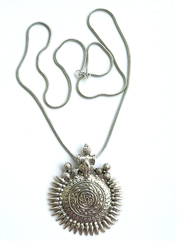 Amazon.com: Sansar India Antique Oxidized Long Chain Ganesha ...