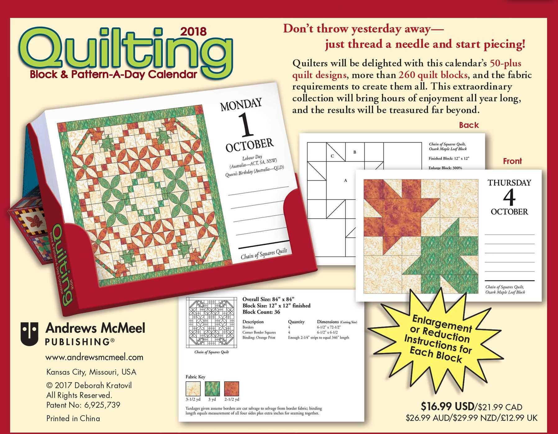 Quilting Block & Pattern-a-Day 2018 Calendar: Debby Kratovil:  0050837359543: Amazon.com: Books