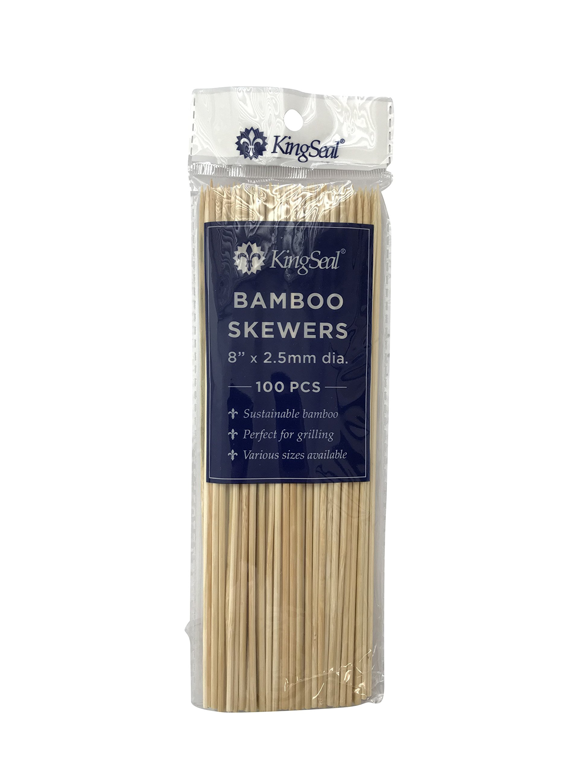 KingSeal Natural Bamboo Wood Skewers - 8 Inches, 16 Packs of 100 each (1600 total)
