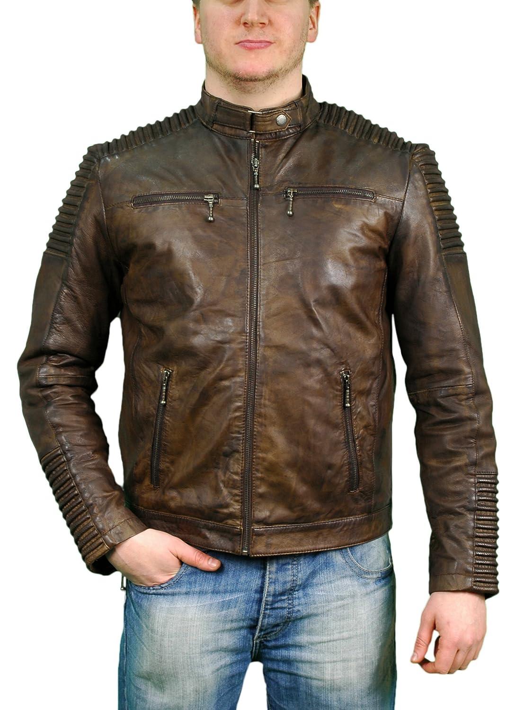Aviatrix Men's Brown Biker Style Retro Zipped Leather Jerome Jacket