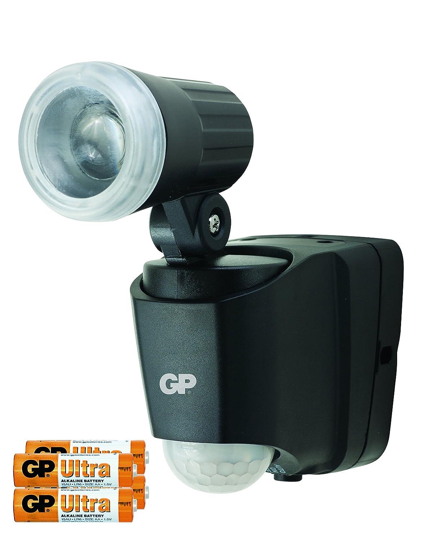 Lampe mit Bewegunsmelder, Außenleuchte mit Bewegungs- und Dämmerungssensor, Batteriebetrieben, LED Spot schwenkbar, wetterfest/wasserdicht nach IP55 für Garten, Terrasse, Garage etc. GP