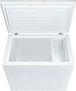 Smad Chest Freezer 7.0 Cubic Feet with Removable Basket Flip-up Lid Deep Freezer Adjustable Temperature, for Apartment Home Kitchen Grocery, White