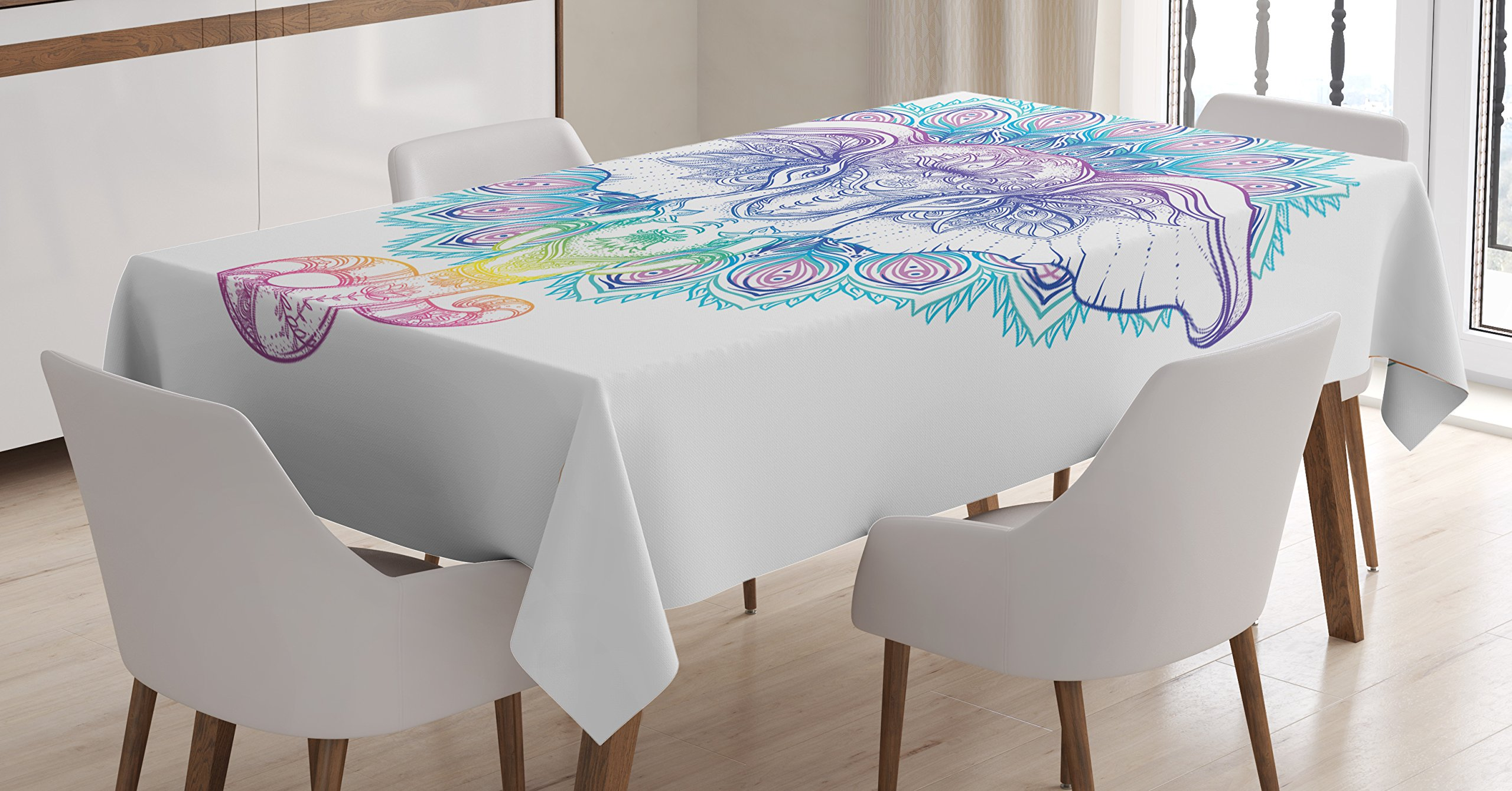 Ambesonne Elephant Mandala Tablecloth, Hand Drawn Rainbow Summer Colored Asian Guardian of Temple Animal Print, Dining Room Kitchen Rectangular Table Cover, 52 W X 70 L inches, Multicolor