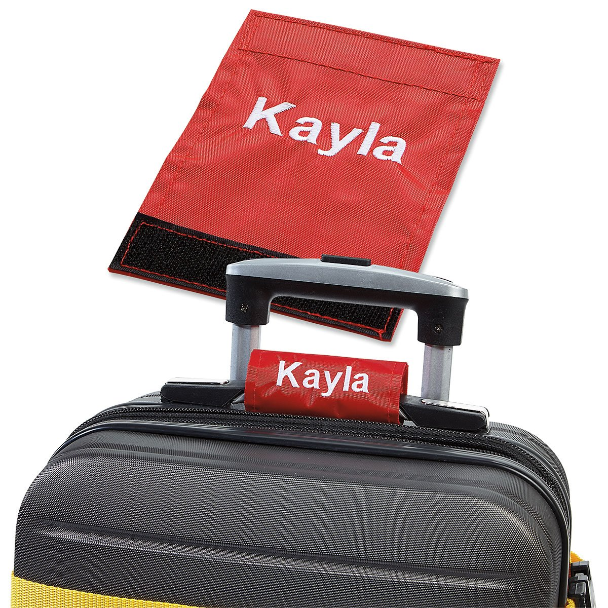 Personalized Red Luggage Handle Wrap - 2'' x 4'' closed