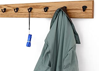"""product image for PegandRail Solid Oak Wall Mounted Coat Rack with Aged Bronze Singular Style Coat Hooks 4.5"""" Ultra Wide - Made in The USA (Golden Oak, 4.5"""" x 36"""" with 7 Hooks)"""