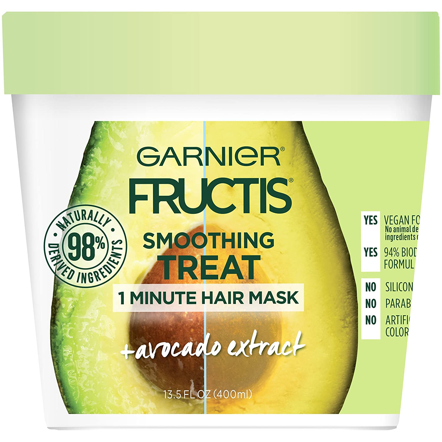 Garnier Fructis Smoothing Treat 1 Minute Hair Mask with Avocado Extractfor Split Ends and to Add Shine, 13.5 Ounce
