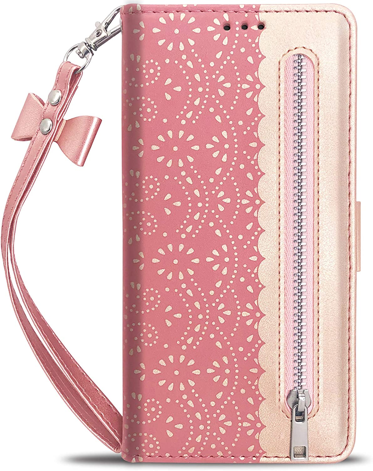 Luxury Flip Wallet Case for iPhone 11 Pro Max (6.5 Inch),Printed Lace Folio Kickstand Feature with Wristlet Lanyard Card Slots Cover for Apple iPhone11 ProMax (Rose Gold)