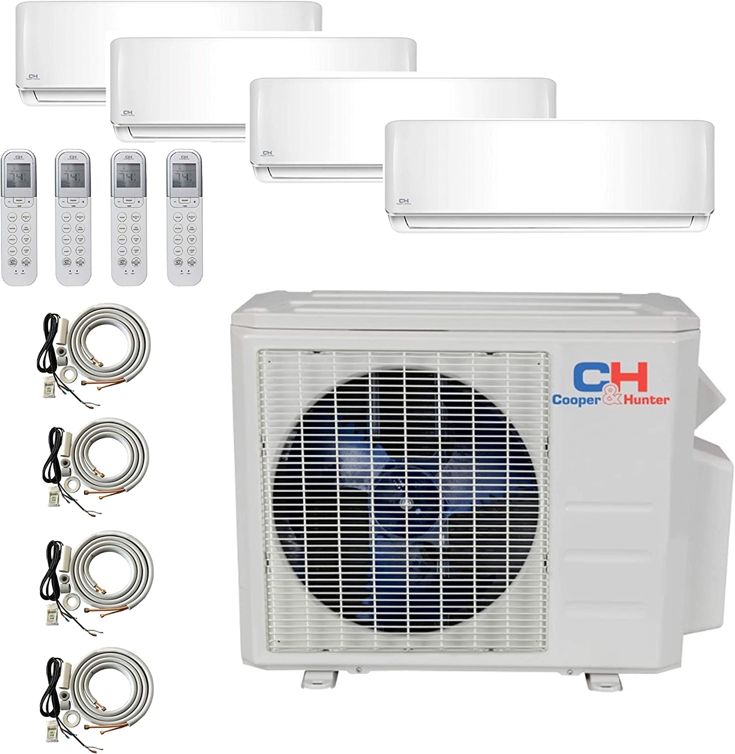COOPER AND HUNTER 4 Zone Mini Split - 9000 + 9000 + 9000 + 18000 - Ductless Air Conditioner - Pre-Charged Quad Zone Mini Split - Four 25' Linesets - Premium Quality - USA Parts & Support